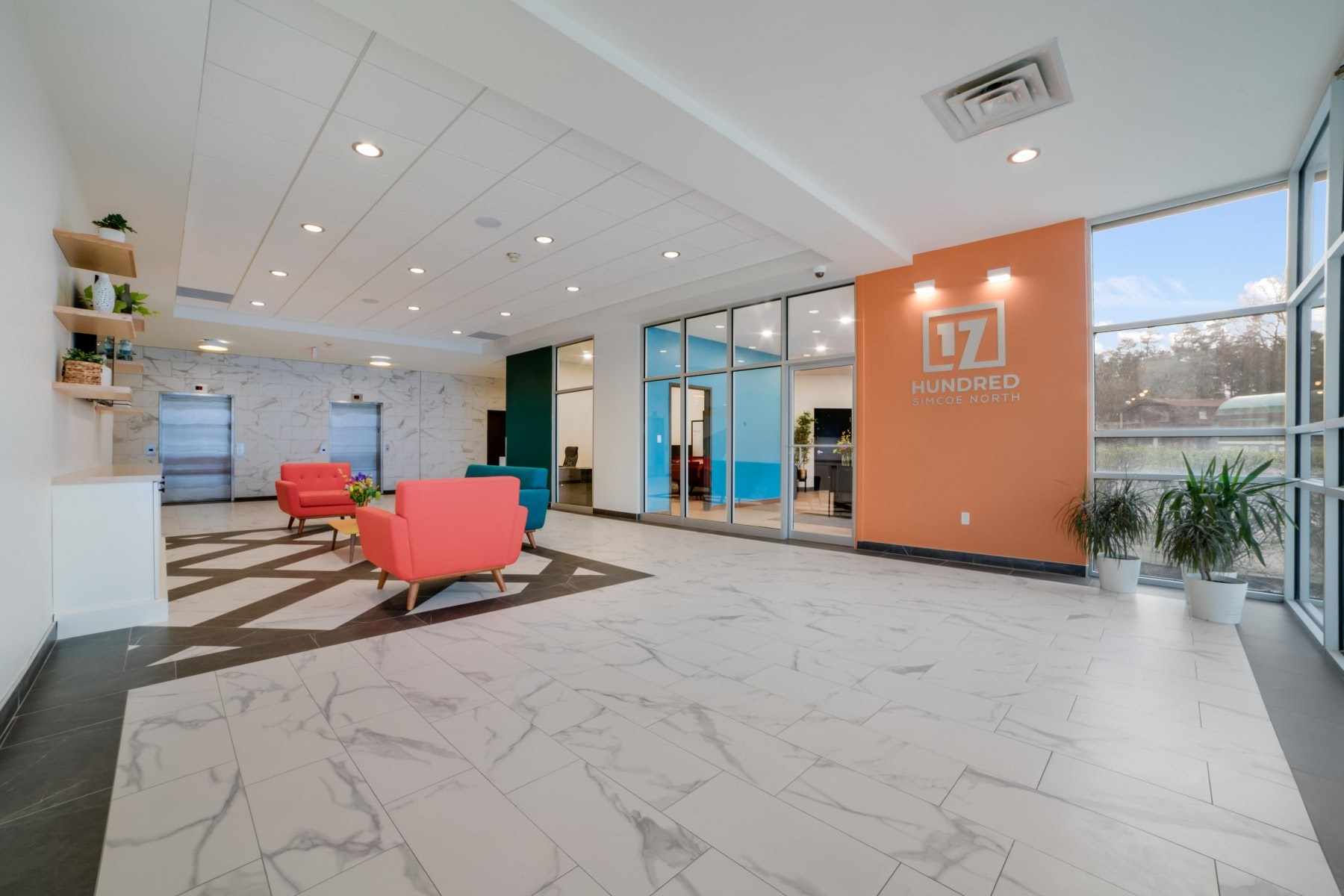 Lobby with couches and décor