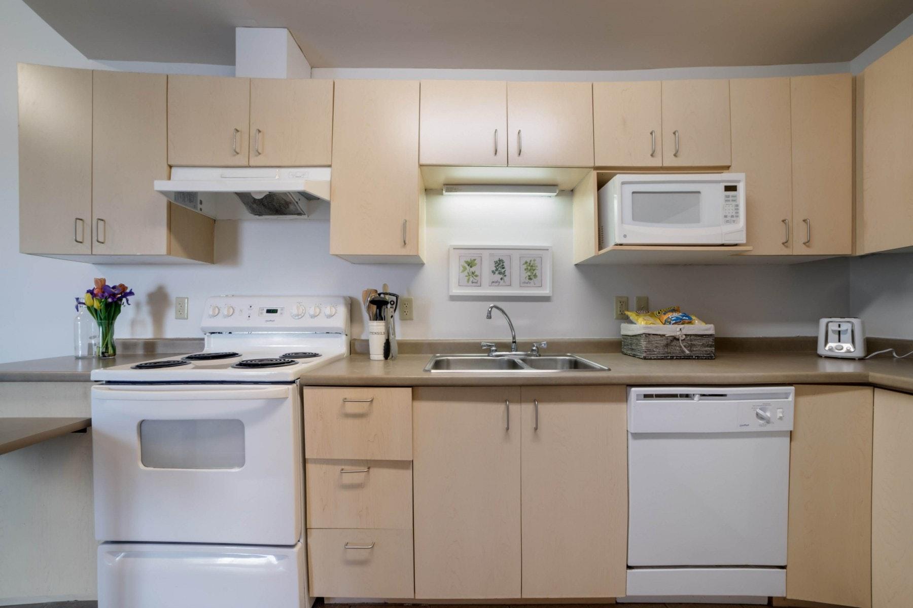 Kitchen with stove, microwave, dishwasher