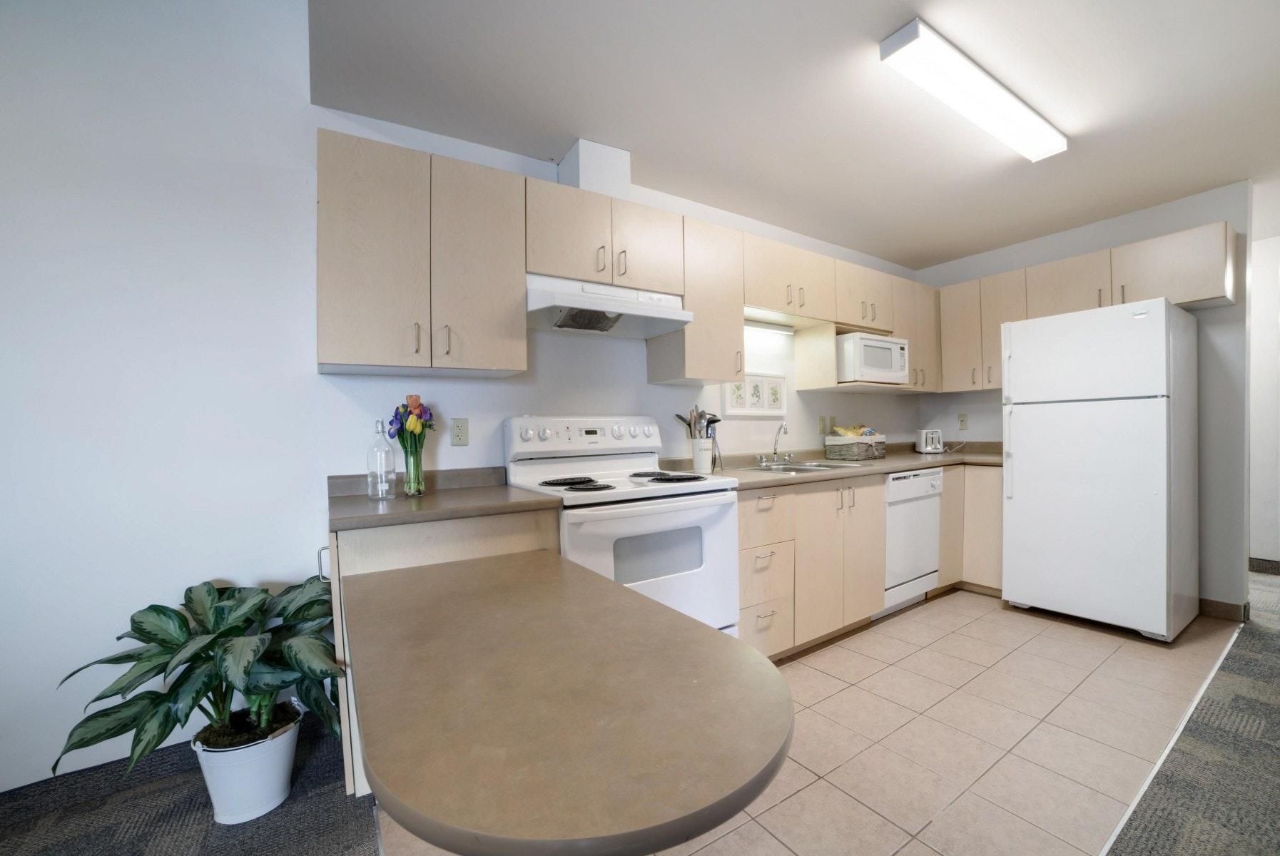Kitchen with stove, microwave, dishwasher and fridge