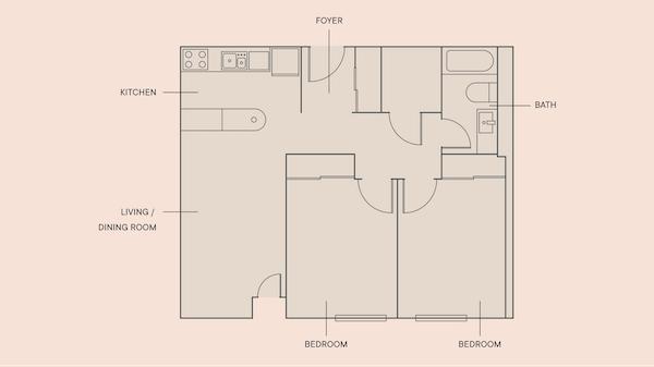 2 Beds, 1 Bath floorplan