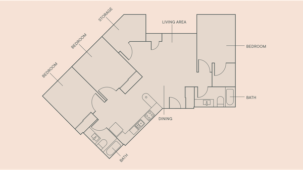 3 Beds, 2 Baths floorplan