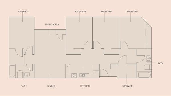 4 Beds, 2 Baths floorplan