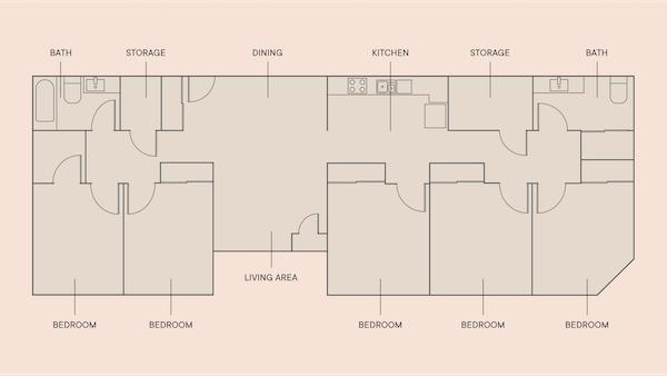5 Beds, 2 Baths floorplan