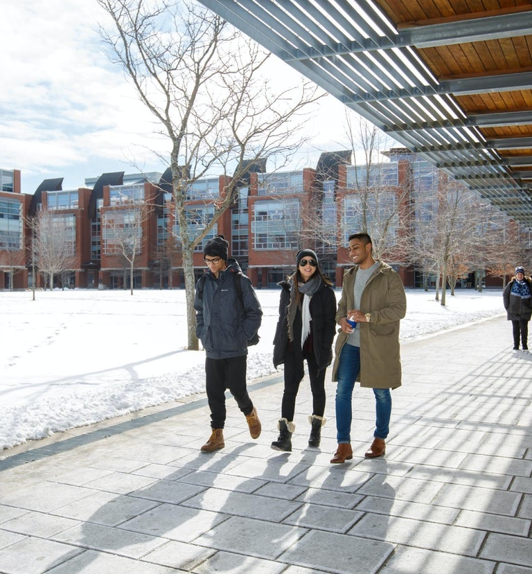 three people talking and walking on campus
